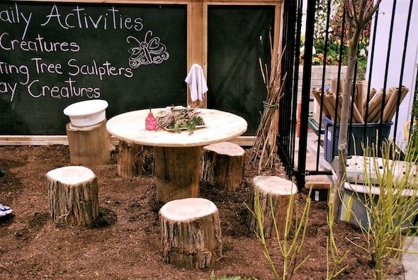 Natural kids outdoor play area - really digging the outdoor chalkboard (who wants to clean up chalk inside?!)
