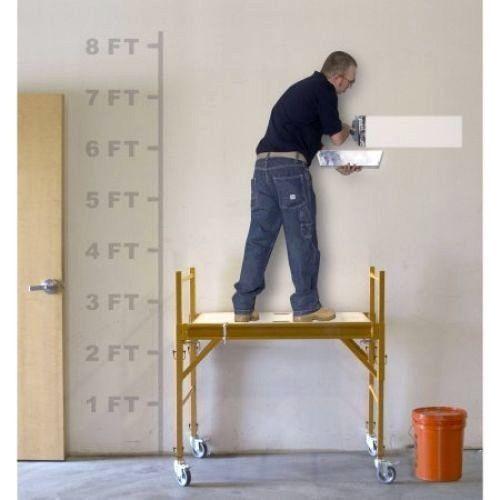 Rolling Scaffold Wheels Scaffolding Tower Deck 4 Foot Portable Stand Platform #RollingScaffoldWheels