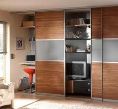 a slide of the door alternates access between the office and areas