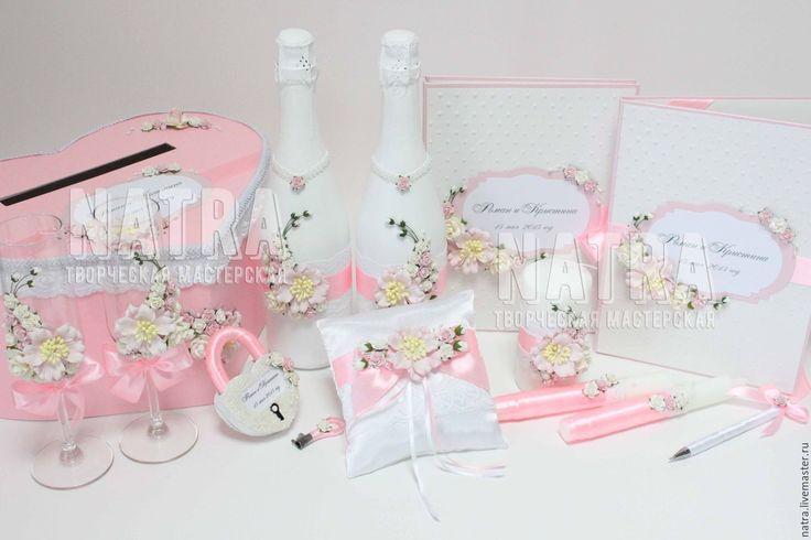 Купить Набор свадебных аксессуаров с цветами в нежно розовом цвете - бледно-розовый, свадебный набор