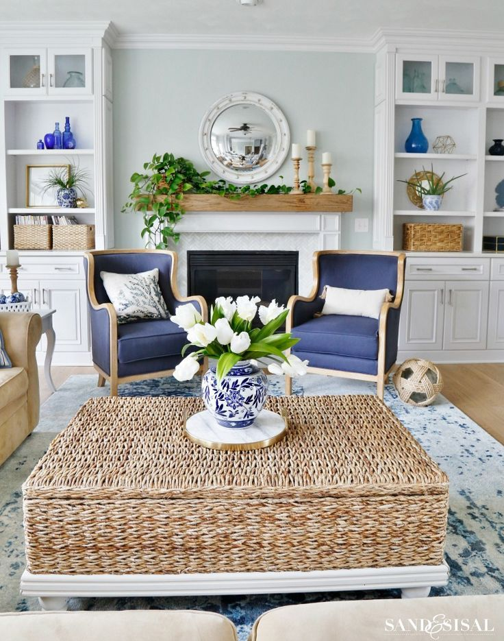 New Blue And White Living Room Updates Sand And Sisal White Living Room Decor Blue And White Living Room White Living Room