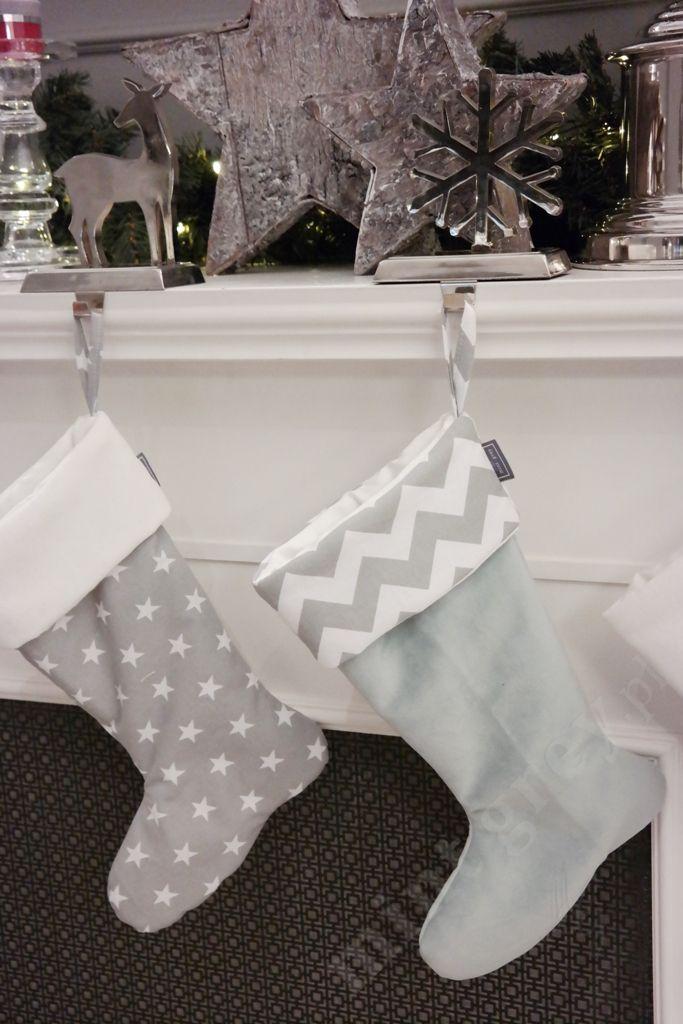MINT GREY New York Style Interiors | produkty - dekoracje świąteczne Skarpety Świąteczne; Skarpeta świąteczna STARS Grey i MINT Chevron; Christmas Stockings