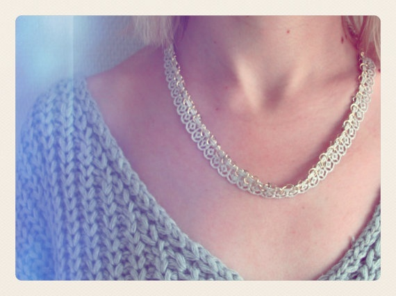 Silver Lace and Metal Necklace by SKRIN on Etsy, €15.00