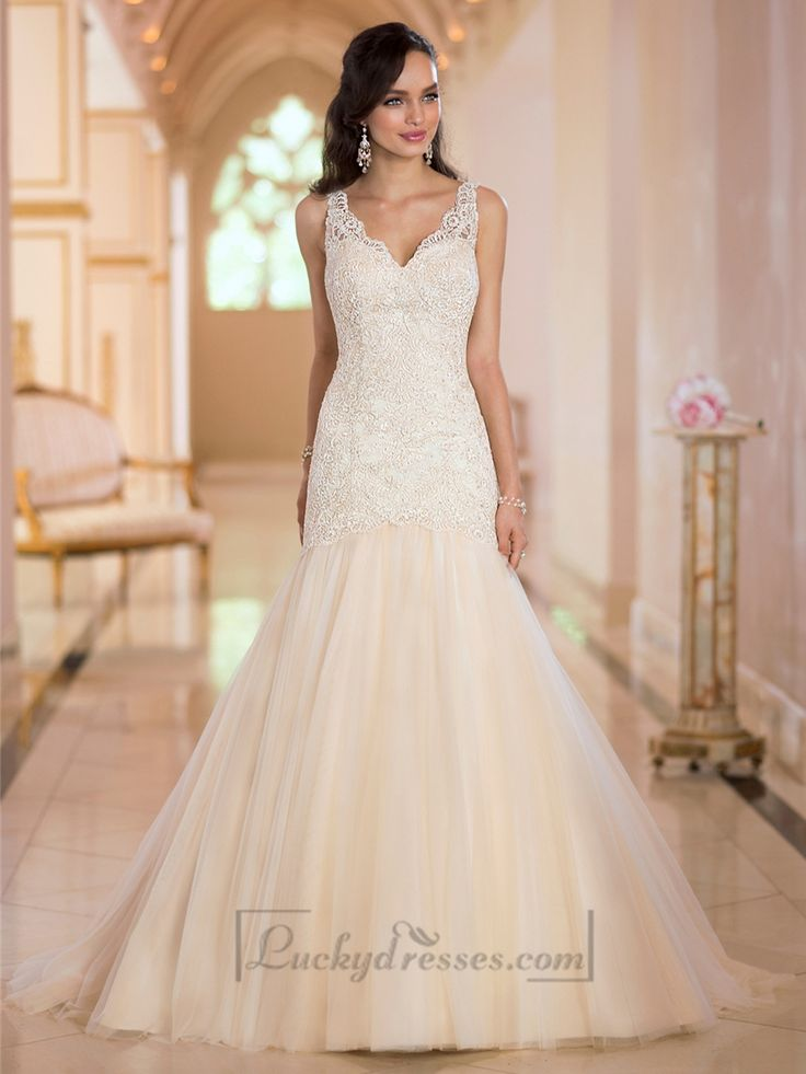 Glamorous Straps Lace Mermaid V-neck Wedding Dresses with Open V-back