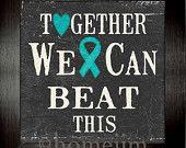 Framed Ovarian, Cervical cancer Inspirational print:Together we can beat this