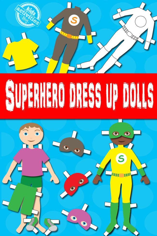 Boy Superhero Dress Up Dolls {Free Kids Printable}