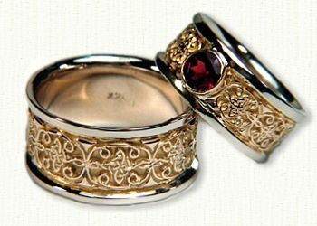 Celtic Mohan Knot Wedding Band Set- With Bezel Set Ruby- Shown in 14kt Yellow Centers with 14kt White Gold Rails