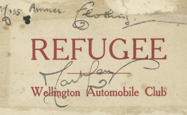 RPermit, Miss Anmer, 1931 Hawke's Bay Earthquake.  Refugee label issued to Miss Amner by the Wellington Automobile Club for clothing