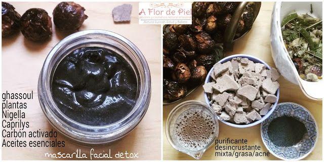 """JABONES Y COSMETICA NATURAL """"A FLOR DE PIEL"""": Mascarilla facial detox Ghassoul y Carbón Vegetal"""