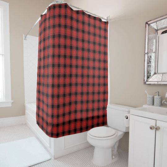 Shop Buffalo Plaid Red And Black Check Shower Curtain Created By EarthMaps Personalize It With Photos Text Or Purchase As Is