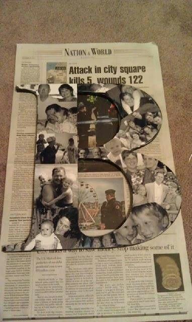 Love this. Putting black n white pictures on a letter. For the kids room