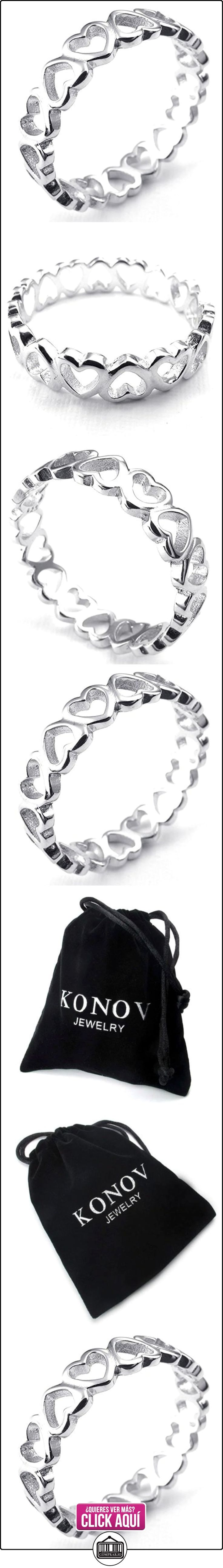 KONOV Joyería Anillo de mujer, Amor Corazón, Plata de ley 925, Color plata - Talla 12 (con bolsa de regalo)  ✿ Joyas para mujer - Las mejores ofertas ✿ ▬► Ver oferta: http://comprar.io/goto/B00TH3IQO8