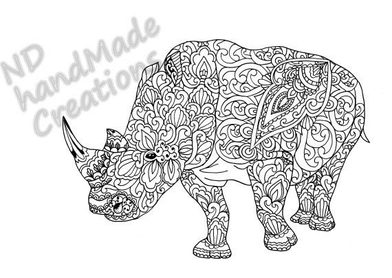 Paisley Doodle Rhinoceros Rhino N1 animal Pattern Printable Coloring Book Sheet Adults children PDF JPG Download Illustration Digital - pinned by pin4etsy.com