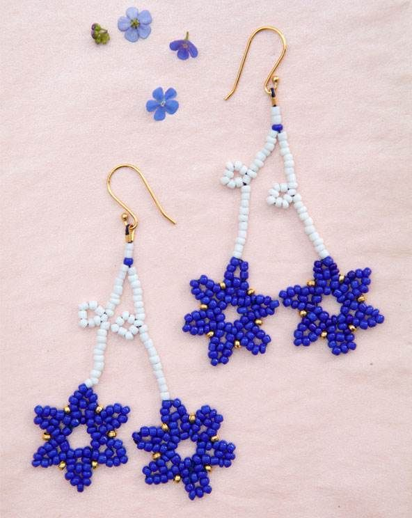 Perleøreringe med blomster - smykker