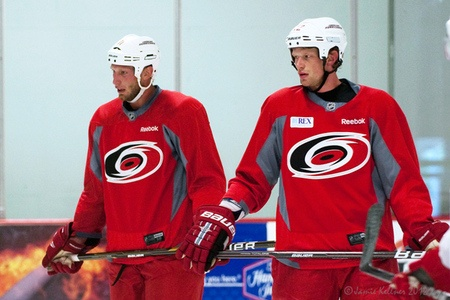 Jordan and Eric Staal on the ice together today (along with brother Jared and 13 other Carolina Hurricanes players) for the start of informal pre-camp skates at Raleigh Center Ice, September 4, 2012 (author's photo).