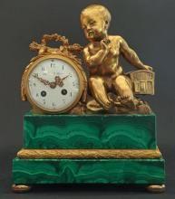 french bronze malachite figural clock theodore starr - Feldstein Kaminsimse