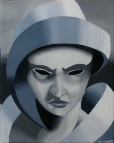 Mark Webster - Gray Matter #2 - Abstract Grayscale Oil Painting, painting by artist Mark Adam Webster