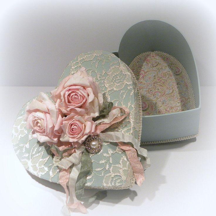 Shabby Chic Box, Cottage Chic Box, Shabby Chic Decor, Vintage Heart box, Romantic Heart Box, Heart Box, Victorian Box,. $40.00, via Etsy.