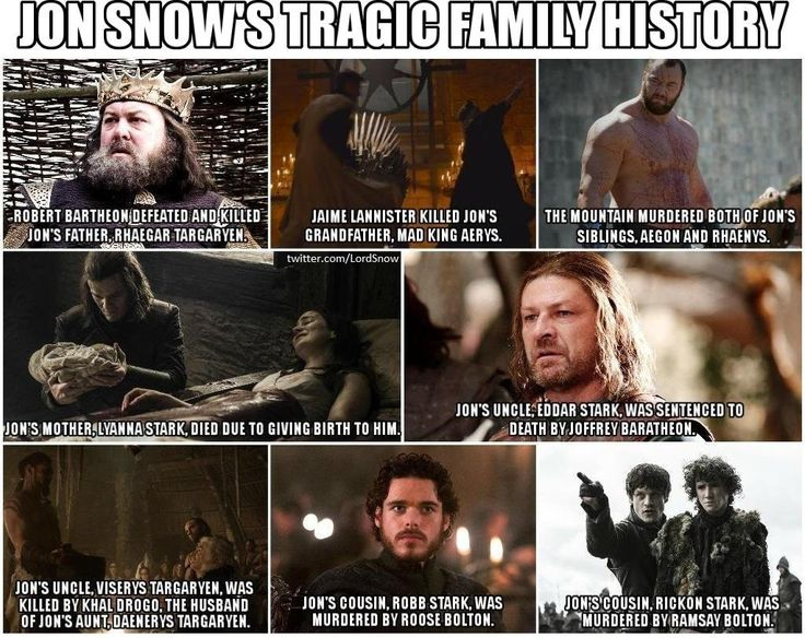 It left out how his paternal grandfather (Aerys) had his maternal grandfather (lord Rickard Stark) and his uncle (Brandon Stark) executed | Jon Snow's tragic family history