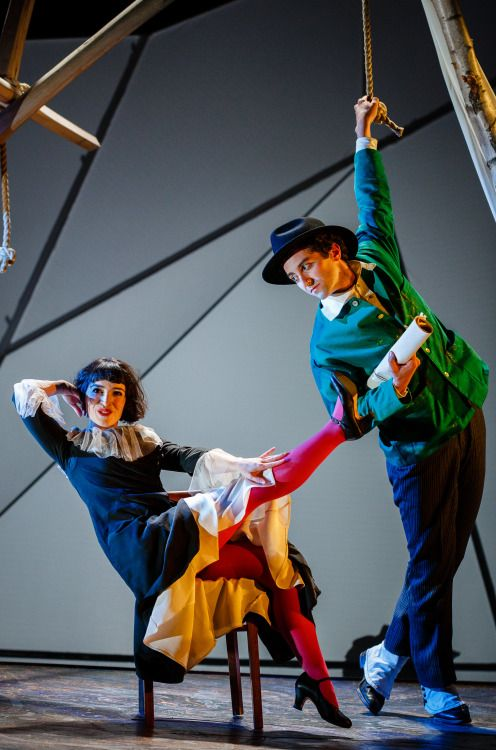 Audrey Brisson and Marc Antolin as Bella and Marc Chagall in Kneehigh and Bristol Old Vic's production of The Flying Lovers of Vitebsk. Image © Steve Tanner