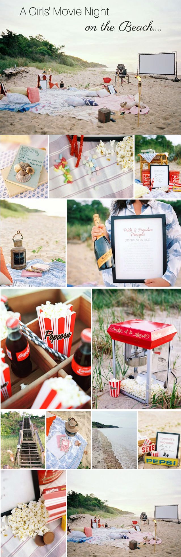 Swooning over this Movie Night On the Beach Bachelorette Party idea! Absolutely genius! | Photography by Christina Zen, Rentals by Octavia & Brown, Styling by Krista Roser and Roey Mizrahi Events