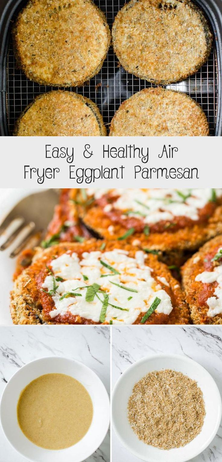 Healthy & easy Eggplant Parmesan fried in Air Fryer for