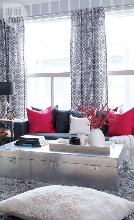 Geometric Drapes In Grey For Urban Casual Living Room By Mon Avis Design.  Drapery By