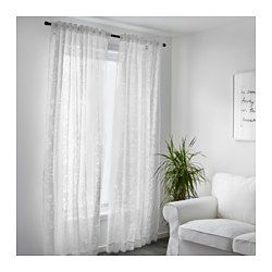 The sheer curtains let the daylight through but provide privacy so they are perfect to use in a layered window solution. The curtains can be used on a curtain rod or a curtain track. The heading tape makes it easy for you to create pleats using RIKTIG curtain hooks. You can hang the curtains on a curtain rod through the hidden tabs or with rings and hooks.