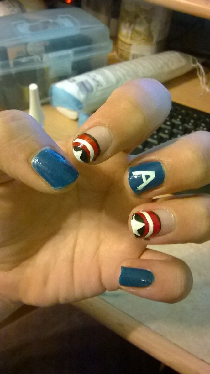 Captain America nails by xElinex