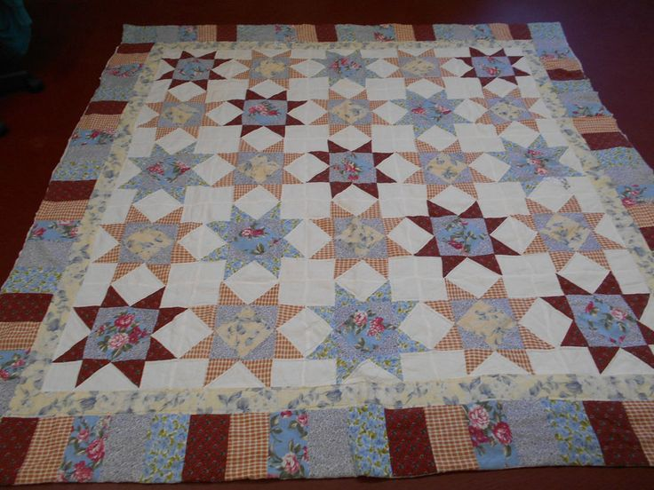 Amazing Pieced Touching Star w/Frame Quilt Hand Quilted