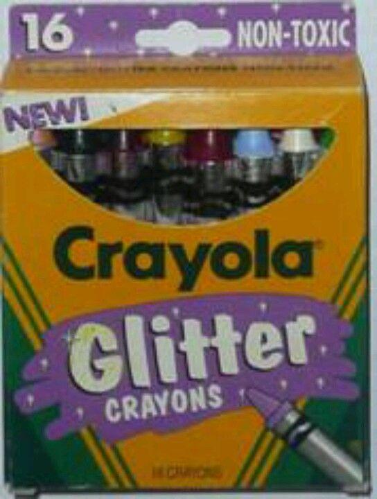 Big 1990's glitter crayons....can I be a kid again?? Please??