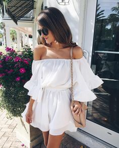 White off the shoulder dress.