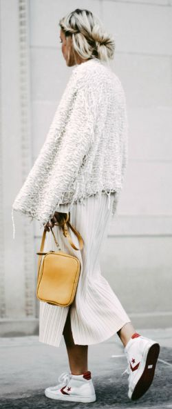 Mary Seng + edgy and alternative skirt/sweater style + slitted midi skirt + sneakers + frayed knit sweater + varied and authentic look + individuality.   Sneakers: Forzieri, Dress: Zara, Cardigan: JW Hulme,  Bag: IRO.... | Style Inspiration