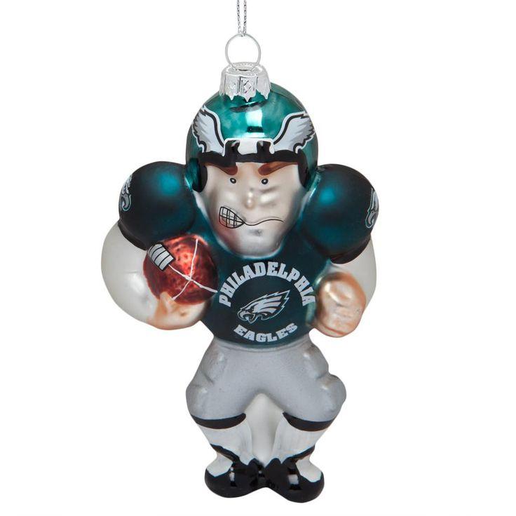 Philadelphia Eagles - Blown Glass Football Player Ornament
