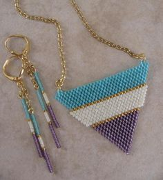 Seed Bead Beadwoven Pendant/Necklace by pattimacs on Etsy, $28.00