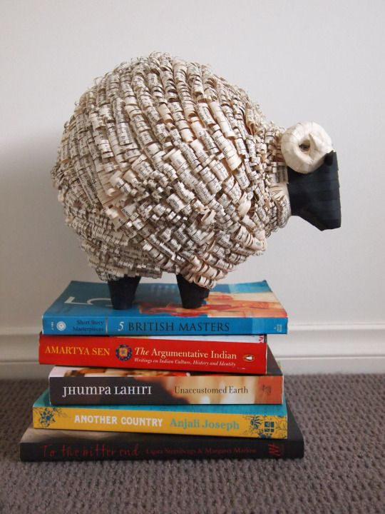 Utilizing the traditional paper mache technique, Janaki LeLe created these sculptures made from discarded newspapers and finished with pages from pre-loved books.