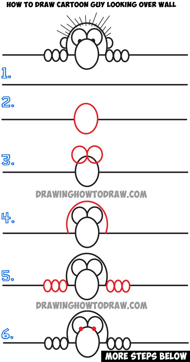 Learn How To Draw Cartoon Guy Looking Over A Wall  Simple Step By Step  Drawing