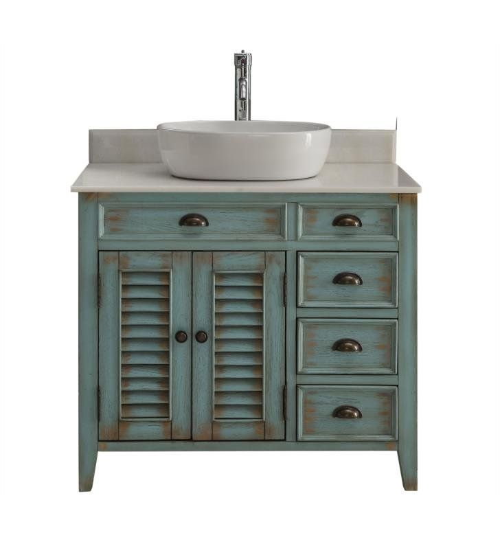 Chans Furniture Cf 78886bu Benton Abbeville 36 Freestanding Single Bowl Vessel Sink Bathroom Vanity In Distressed Teal Blue Bathroom Sink Vanity Vessel Sink Bathroom Vanity Quirky Bathroom