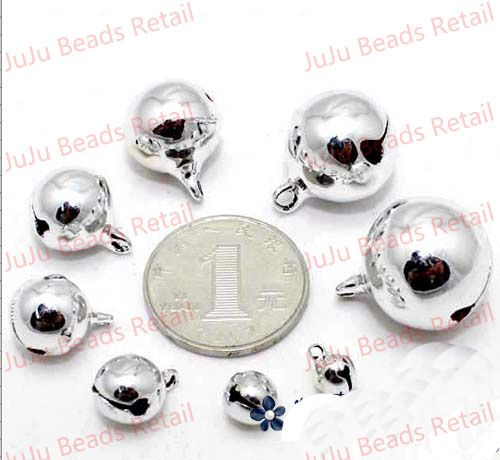 50 pieces 12mm Silver Jingle Bell Dangle Charms With Loop Small Bells Fit Festival Jewelry Charms xyb101