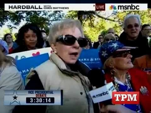 Woman at VP debate calls Obama a communist, gets confronted by Chris Matthews and can't explain what a communist is. Derp.