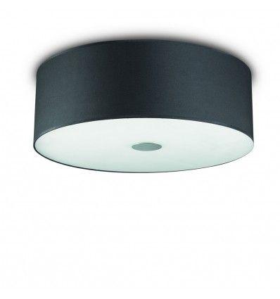 Plafoniera ID-WOODY PL E27 tessuto nero metallo classico moderno lampada soffitto interno IP20