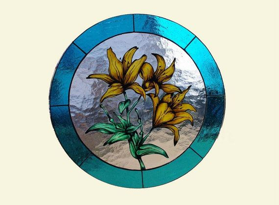 Lily Flowers  Hand painted Tiffany glass by AmberGlassArt on Etsy