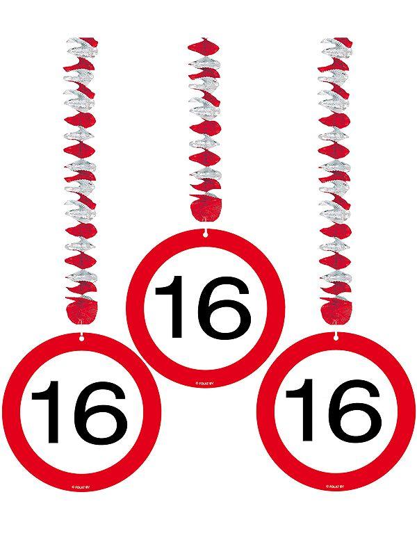 Rotorspiralen 16 jaar verkeersborden 3 stuks. Feestelijke decoratie rotorspiralen voor een 16e verjaardag of jubileum. U ontvangt 3 stuks van deze stopborden.