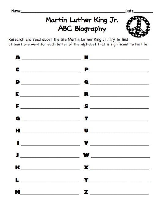 Martin Luther King Jr. ABC Biography--a simple and FREE printable research activity!