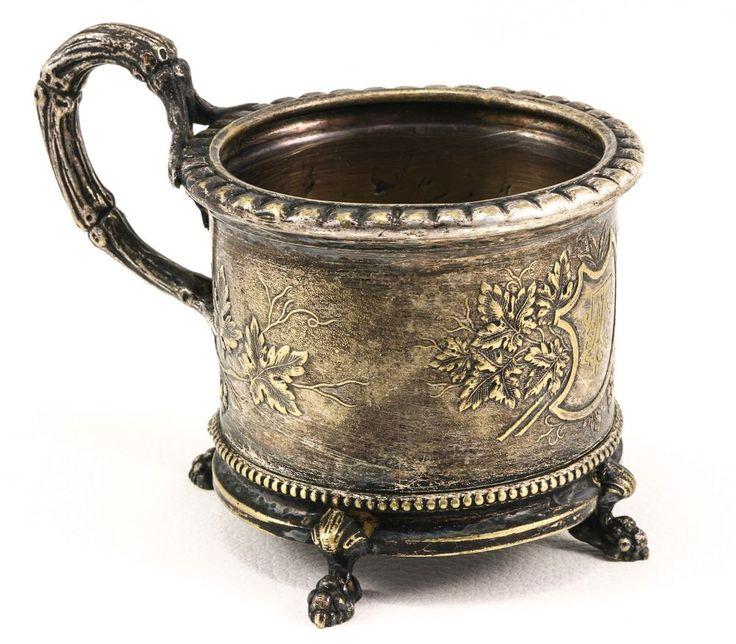 "Antique Polish tea cup holder ""Fraget W Warszavie Galw"". #Fraget"