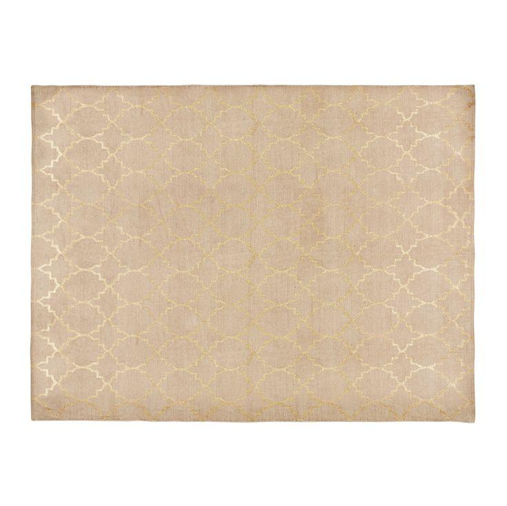 NESTOR Patterned Beige Cotton Rug 140 X 200 Cm