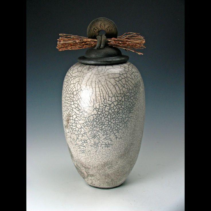 Crackle glazed raku jar by Heritage Hill Pottery