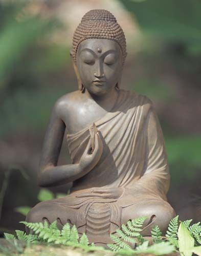 """I do not dispute with the world; rather it is the world that disputes with me.""     ~ The Buddha  *  Metta Garden Buddha  Statue:  ॐ lis DharmaCrafts meditation supplies"