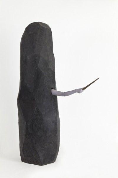 Ce nonobstant , 2011, Styrofoam, foam coat, mastic magic sculpt, wood, oil paint