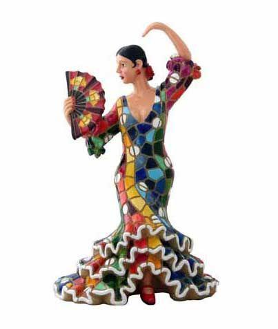 Danseuse Flamenca Mosaïque avec Eventail